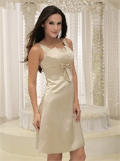 Square Knee-length Champagne Satin Homecoming Dress Bowknot Chest
