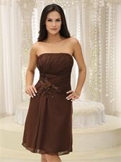 Chocolate Knee Length Chiffon Mother Of Bride Dress With Jacket