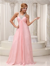 Blush Scoop Cross Back Prom Dress With Handwork Beaded Stars Red Carpet Show