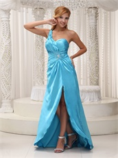 Aqua Blue One Shoulder High Side Slit Maxi Dress Exposed Waist