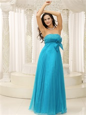 Crinkle Ruching Empire Sky Blue Chiffon Evening Dress With Bowknot