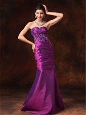 Dark Purple Sweetheart Slender Mermaid Evening Prom Gowns Physical Store