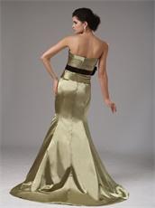 Mermaid Elastic Woven Satin Olive Green Amazon Prom Dress With Purple Sash