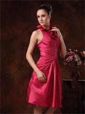 Falbala Halter Knee Length Dark Fuchsia Taffeta Prom Dress Modest