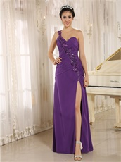 Dark Orchid Slit Evening Dress Sequin Applique From Shoulder To Waist