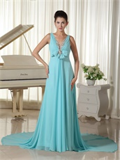 Aqua Blue V-neck Evening Dress Open Back Stage Show Most Choice