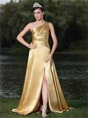 Amiable Gold One Shoulder Slit Design Prom Dress For Garden Party
