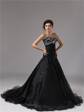 Sweetheart Dropped Waist Black Organza Gothic Style Prom Dress Online