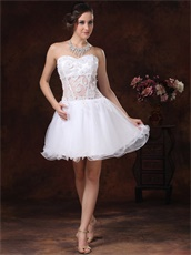 Cute White Curly Hemline Girls Homecoming Dress See Through Waist