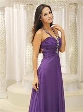 Medium Purple Show Back Chiffon Evening Gown First Choice