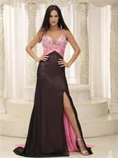 Black Skirt With Pink Brush Train Sexy Evening Dress Show Breasts