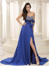 Dignified Royal Blue Gathering Party Dress Bowknot Custom Plus Size
