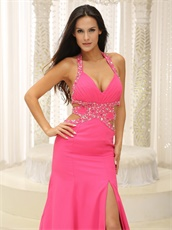 Halter Rose Pink Chiffon Backless Night Evening Dress Brand New