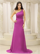 2019 New Camellia Purple Single Strap Sweep Train Formal Dress Cheap