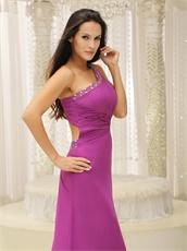 2019 New Camellia Purple Single Strap Sweep Train Formal Dress Cheap
