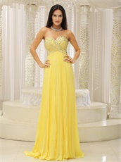 Bright Yellow Chiffon Fully Beading Bust Evening Pub Dress Long