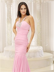 Attractive V Neck Baby Pink Mermaid Evening Gowns Attend Special Events