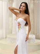 Single Strap Colorful Beading White Prom Dress Custom Made Free