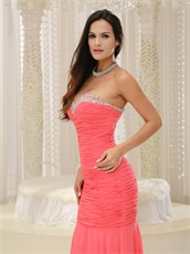 Watermelon Sweetheart Floor Length Mermaid Evening Party Dress