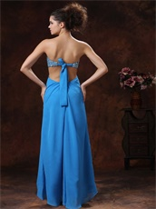 Azure Beaded Decorate Expose Waist Long Split Prom Dress Sexy