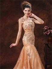 Beige Embroidery Square Formal Evening Gown For The Stage Show