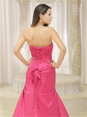 Simple Style Rose Pink Bowknot Prom Dress Ceremony Appropriate