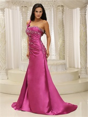 Lady Most Choice One Shoulder Camellia Evening Dress Brush Train