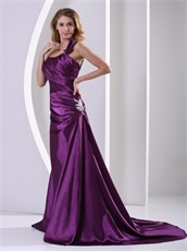 Exciting Eggplant Purple One Shoulder Decent Evening Dress Custom Fit Free