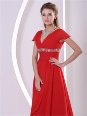 Red V-neck Cap Sleeves Design Chiffon Prom Gowns For Engagement Supplier