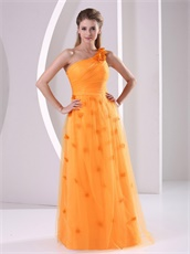 One Strap Bright Orange Prom Dress Fully Flowers Skirt Live Out Girl's Dreams