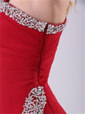 Wine Red One Shoulder Sexy Side Slit Prom Dress Plus Size Custom Made