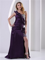 Dark Purple One Shoulder Shirred Bodice Night Club Dress Show Leg Flattering