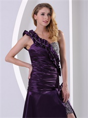 Dark Purple One Shoulder Shirred Bodice Night Club Dress Show Leg Flattering