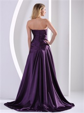 Eggplant Purple Slender A-line Dignified Evening Dress With Hand Made Flowers