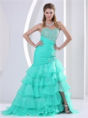 Apple Green Multilayers Mermaid Skirt Show Leg Girl's First Prom Dress As Gift