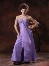 Lavender Halter Empire Split Prom Dress For University Party Girl Prefer