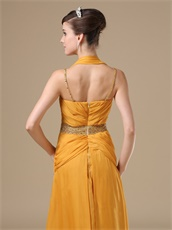 Halter and Spaghetti Strap Amber Gold Mature Mother Of Bride Dress
