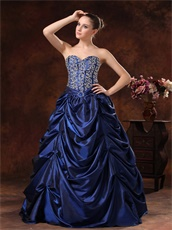 Fascinating Beaded Bodice Pick-ups Navy Blue Prom Dress Opera Performance