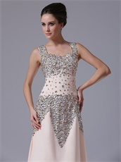 Champagne Fully Crystals Sheath Square Pageant Prom Dress For Mature Lady