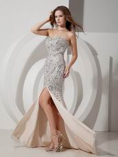 Champagne Chiffon Sweetheart Mermaid Prom Dress With Diamond