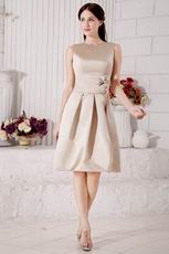 Classic Scoop Neck A-line Knee Length Champagne Stain Prom Dress