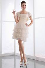 Cream Short Layers Chiffon Prom Dress With Chiffon Jacket