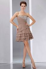 Custom Fit Layers Cascade Mini Skirt Burly Wood Short Prom Dress