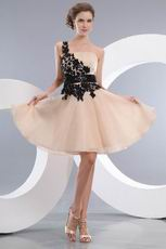 Champagne Sweet 16 Dress With Side Black Applique