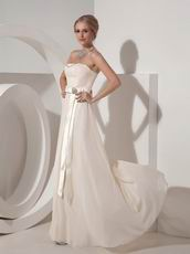 Cream Chiffon Strapless Floor Length Ready To Prom Wear