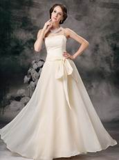 Cream Chiffon Strapless Floor-length Skirt Celebrity Party Dress