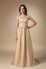 Criss Cross Decorate Golden Dress For Mother Of The Bride