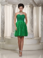 Green Mini-length Holiday Cocktail Dress With Sequin Inside Unique