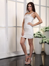 White Column One Shoulder Cocktail Dress Ruched Skirt Unique