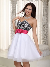 White A-line Leopard Prom Dress Short Skirt With Bowknot Unique